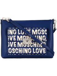 Love Moschino Logo Print Shoulder Bag Blue