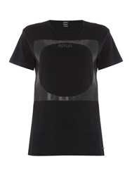 Replay Plastisol Print Jersey T Shirt Black