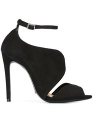 Schutz Ankle Strap Stiletto Sandals Black