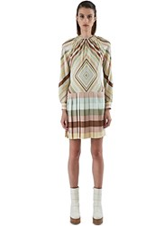 Valentino Pleated Skirt Striped Dress Green