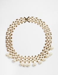 Paper Dolls Faux Pearl Drop Necklace Gold