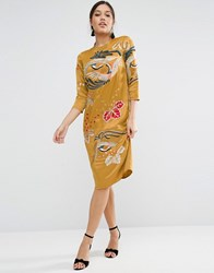 Asos Mustard Embroidered Long Sleeve Shift Dress Mustard Yellow