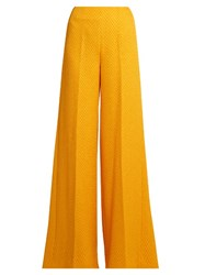 Emilia Wickstead Rodeo Chevron Matelasse Wide Leg Trousers Yellow