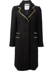 Moschino Chain Trim Military Coat Black