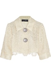 Dolce And Gabbana Cropped Silk Organza Trimmed Macrame Lace Jacket White