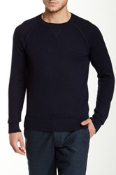 Apolis Genuine Suede Leather Elbow Patch Sweater Blue