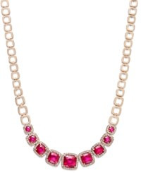 Effy Rosa By Ruby 7 5 8 Ct. T.W. And Diamond 5 8 Ct. T.W. Square Necklace In 14K Rose Gold