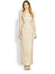 Sue Wong Long Column Dress Antique Champagne