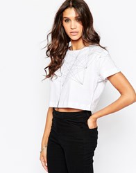Aka Graphic Print Crop Top White
