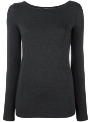 Majestic Filatures Boat Neck Jumper Grey