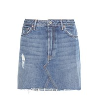 Grlfrnd Eva A Line Distressed Denim Miniskirt Blue
