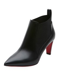 Christian Louboutin Joan Point Toe Red Sole Ankle Bootie Black