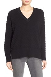 1.State Bubble Stitch V Neck Sweater Black
