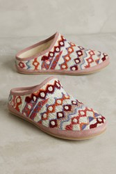 Anthropologie Embroidered Caro Slippers White