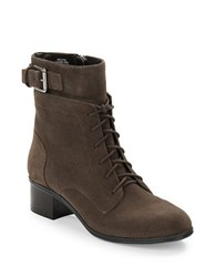 Bandolino Cloviis Suede Lace Up Booties Grey
