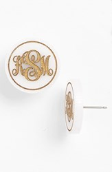 Women's Moon And Lola 'Chelsea' Medium Personalized Monogram Stud Earrings Snow Gold Nordstrom Exclusive