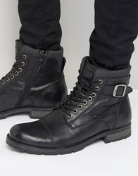 Jack And Jones Albany Warm Leather Boots Black