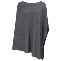 East Merino Wool Knitted Poncho Flint
