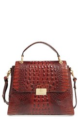Brahmin 'Melbourne Brinley' Croc Embossed Leather Satchel Brown Pecan