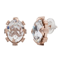 Cabinet Beetle Crystal Earrings Rose Gold Clear