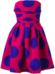 Boutique Moschino Strapless Polka Dot Dress Pink And Purple