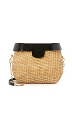 Edie Parker Jane Straw Basket Straw Black