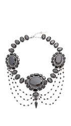 Marc Jacobs Jet Night Statement Necklace Jet Antique Silver