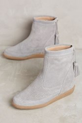 Anthropologie Kmb Sacha Wedge Sneaker Booties Grey Suede