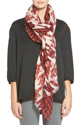 Halogen 'Houndstooth Camouflage' Cotton And Wool Scarf Red Combo