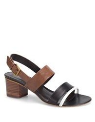 Carmen Marc Valvo Sadie Leather High Heel Sandals Brown