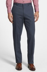 Wallin And Bros 'Bedford' Flat Front Stretch Cotton Trousers Blue