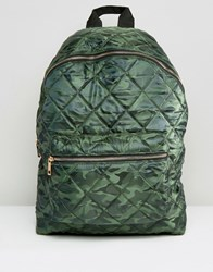 Asos Quilted Nylon Backpack In Camo Khaki Green