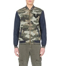 True Religion Collegiate Camouflage Print And Denim Jacket Faded Olive Camo