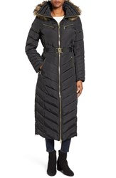 Michael Michael Kors Women's Belted Down And Feather Fill Long Coat With Faux Fur Trim Hood