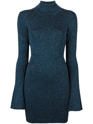 By Malene Birger Turtleneck Metallic Pullover Blue