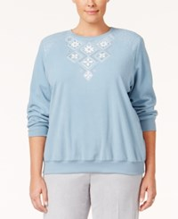 Alfred Dunner Plus Size Northern Lights Collection Embellished Sweater Bright Blue