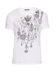 Balmain Short Sleeved Medallions Print Cotton T Shirt White Multi