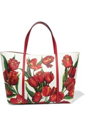 Dolce And Gabbana Dauphine Floral Print Textured Leather Tote