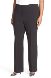 Sejour Plus Size Women's Double Cloth Stretch Flare Leg Trousers Black