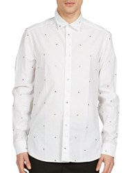 Kenzo Tanami Flower Jacquard Cotton Shirt White