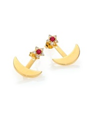 Elizabeth And James Apollo Ruby And White Sapphire Ear Jacket And Stud Earrings Set Gold Red