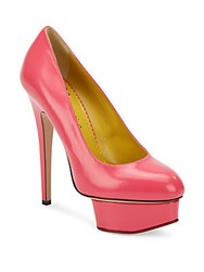 Charlotte Olympia Dolly Leather Platform Pumps Shocking Pink