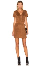 Lucy Paris Jaida Faux Suede Lace Up Dress Brown