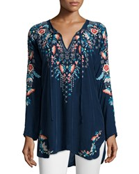 Johnny Was Julie Sunrise Embroidered Blouse Blue Night