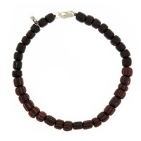 Men In Cities Two Tone Bead Bracelet Black And Black Red Striped