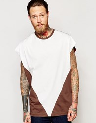 Asos Super Oversized T Shirt With Contrast Triangle In Rust Stone Burnt Umber Red
