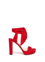 Jimmy Choo 'Kaytrin 120' Ankle Tie Pleat Suede Platform Sandals Red