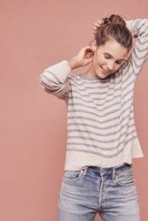 Anthropologie Cashmere Button Back Pullover Neutral Motif