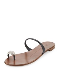 Crystal Toe Ring Flat Sandal Black Nero