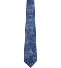 Duchamp Artistic Flower Silk Tie Blue